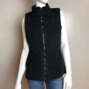 Fabletics Sedona Fleece Vest Black ZIP Front
